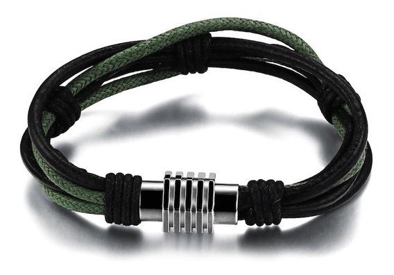 Pulseira De Couro Masculina Preto E Verde Militar + Aço