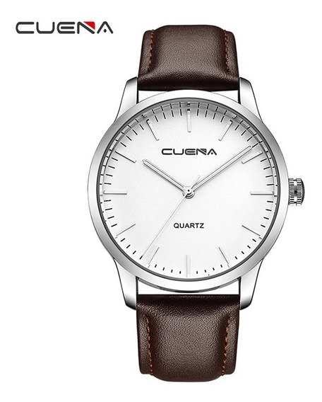 Relógio Quartzo Casual Cuena Pulseira Couro