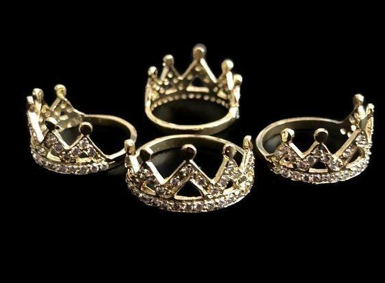 Anillo De Corona Con Zirconia En Chapa De Oro 14k Bisuteria 10 Piezas+envio