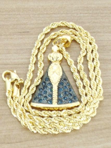 Cordão Corrente 50cm Pingente Nossa Senhora Folheada A Ouro