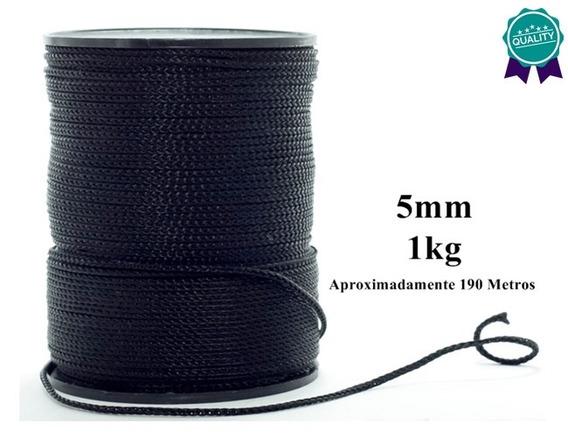 Rolo Cordão Corda Fita 5mm 1kg Artesanato 190 Metros Preta