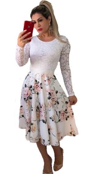 Vestido Midi Noiva Casamento Civil Luxo Com Cinto