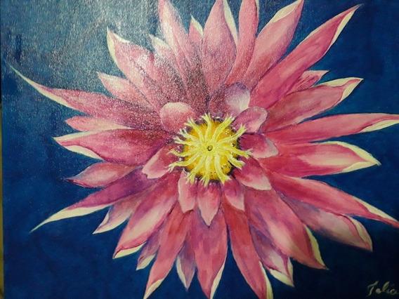 Pintura Em Tela De Uma Flor De Pitaya