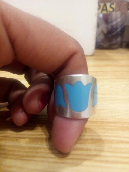 Anillo Plata Ley .924 Tulipán Azul 5 1/2