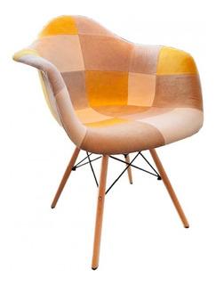 Sillón De Comedor Diseño Tapizado Tela Madera - Eames Patch