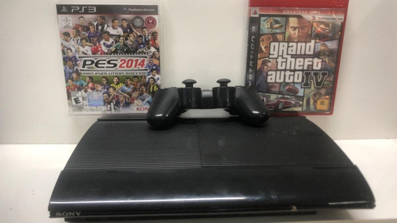 Ps3 Playstation 3 Slim 250 Gb Com Um Controle+ 2 Jogos