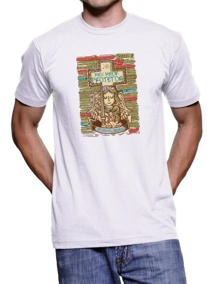Camiseta Branca São Miguel Arcanjo Anjo Da Guarda Oração