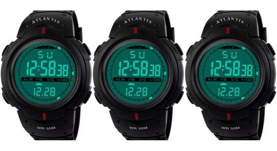 Kit 3 Relógios Digitais Atlantis G7330 Shock A Prova D