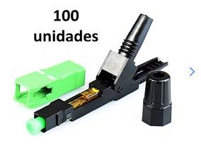 Envio Imediato!! 100 X Fast Conector Óptico De Campo Sc Apc
