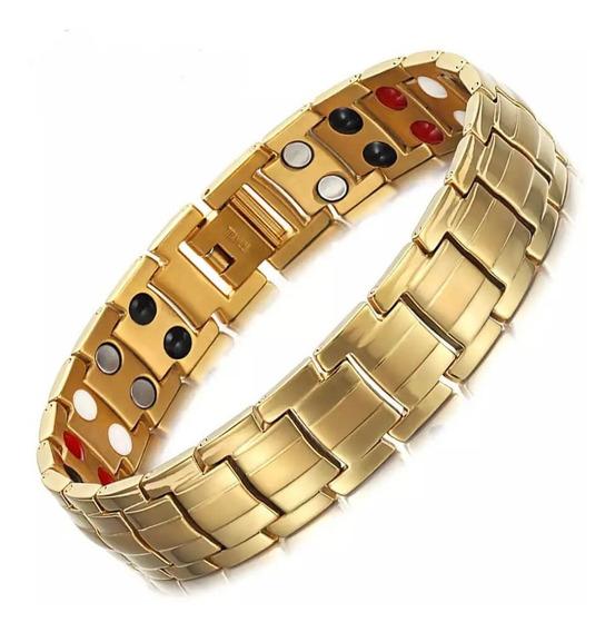 Pulseira Masculina Bracelete Aço Inoxidável + Magnéticos