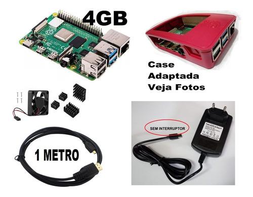 Raspberry Pi 4 Pi4 4gb Ddr4 Fonte Cooler Resistor Sem Case