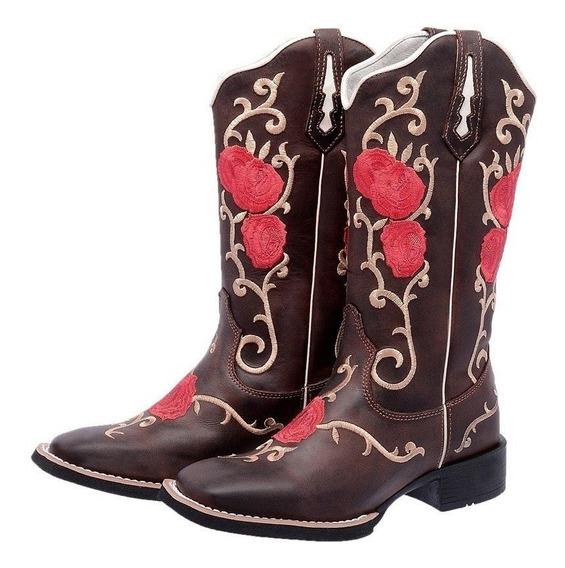 Bota Texana Flores Vermelha Couro Legitimo Frete Gratis