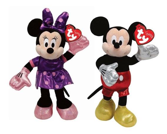 Kit Pelúcia Minnie E Mickey Mouse Ty Infantil 20cm Fofinho