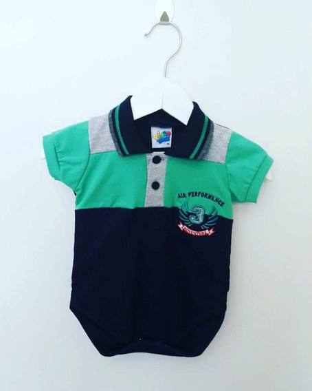 Bodies Bebê Menino Gola Polo Em Duas Cores