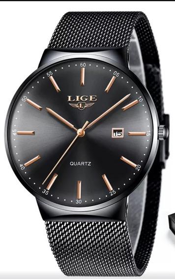 Relógio Masculino Lige 9903 Slim Casual Original Preto Nf-e
