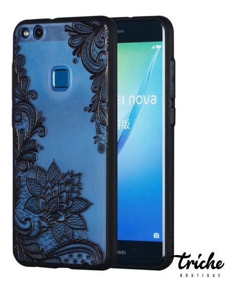 Funda Case Flor De Loto Negro Vintage Huawei P10 Lite