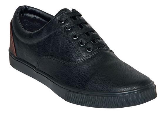 Calzado Hombre Caballero Tenis Casual Tipo Piel Negro Comodo
