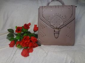 Bolsa Chenson Feminina Mochila Rebites Dourada Rosé