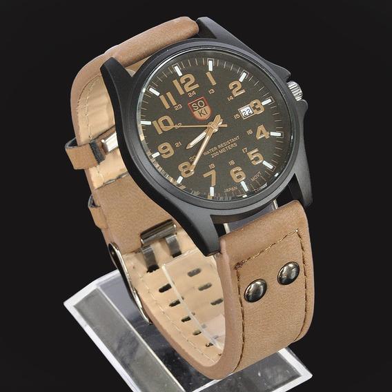 Relógio Masculino Pulseira De Couro Militar Soki Frete Grát