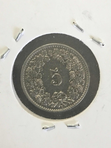 Moneda Suiza 5 Rapen Año 1939 C/ Sin Circular Excelente