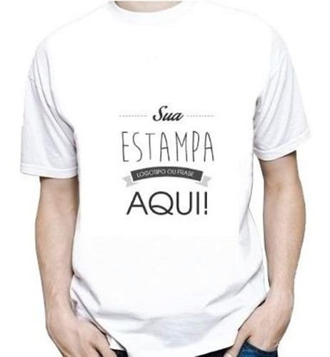 Camiseta Branca Personalizada Poliéster Estampa A4 20x30cm