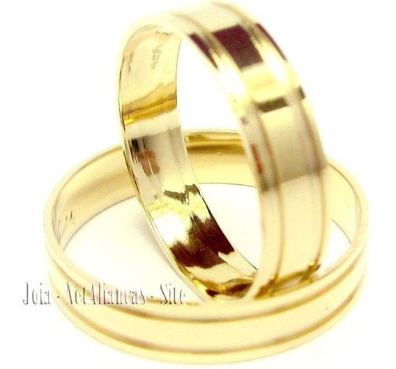 Joianete Aliança Ouro18kpar 5grama 2 Canal Polidas Casamento