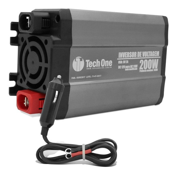 Inversor De Voltagem Tech One 200w 12v Para 110v Usb