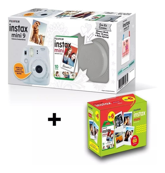 Kit Câmera Instax Mini 9 - Branco Gelo: Bolsa + 70 Filmes