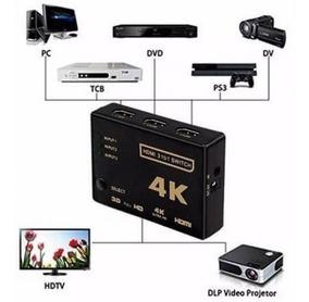 Hub Switch Hdmi 3x1 Fullhd 4k 3 Portas Controle Remoto 3d