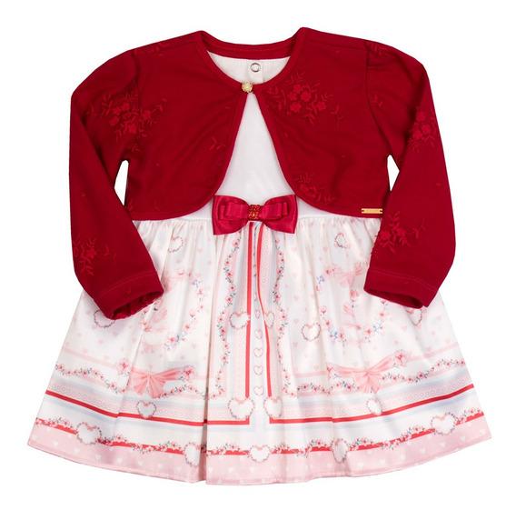 Vestido Infantil Paraiso Satin Bolero Tule Bordado Vermelho