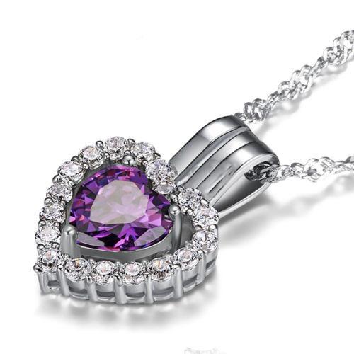 Corazon Adiamantado Con Cristal Purpura De 2 Piezas En Plata