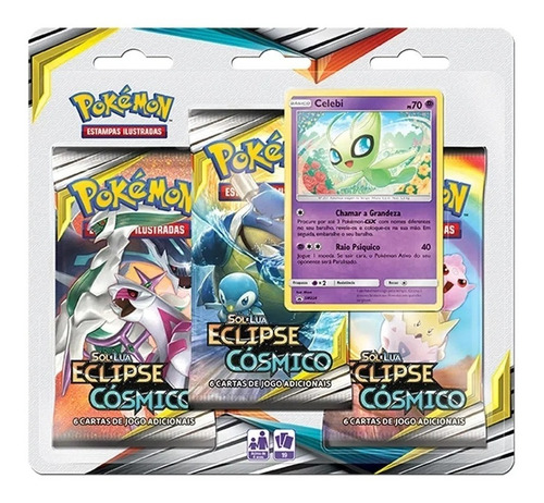 Card Game Pokémon Tcg Sol E Lua Blister Triplo Celebi