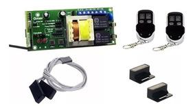 Central Portão G100 + 2 Controles Cromado + Sensor E Imãs