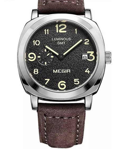 Relogio Masculino Megir Ml1046 Luminous Couro Calendario