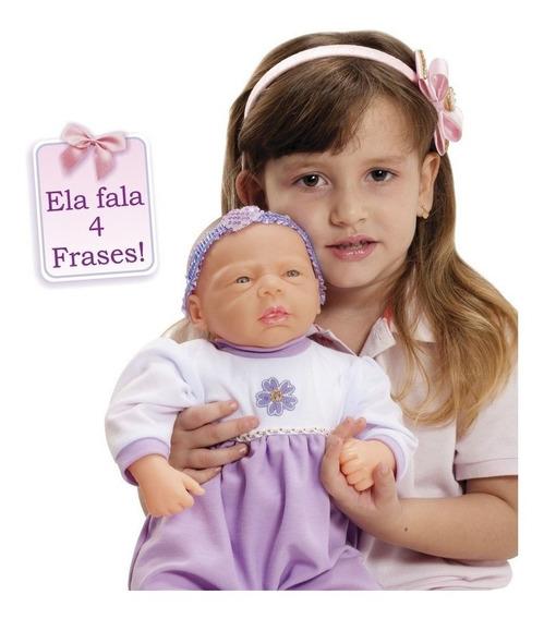Kit 2 Boneca Bebe Aninha Adjomar 43 Cm 4 Frase Estilo Reborn