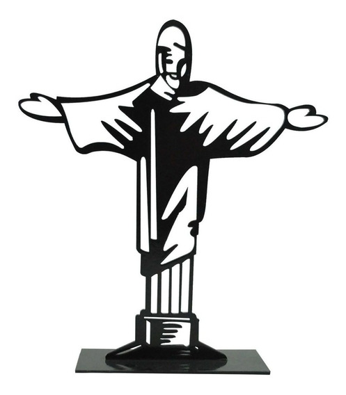 Kit 10 Enfeite De Mesa Cristo Redentor 21x18,5cm Mdf Pintado