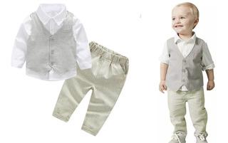 Conjunto Niño Bebe Bautizo Elegante Camisa Chaleco Pantalon