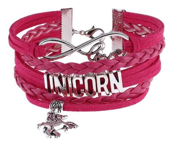 Pulseira Unicórnio Love - Bracelete Largo Unissex Arco-íris
