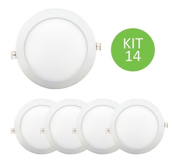 Plafon Painel Led Embutir 15w Branco Quente Redondo Kit 14