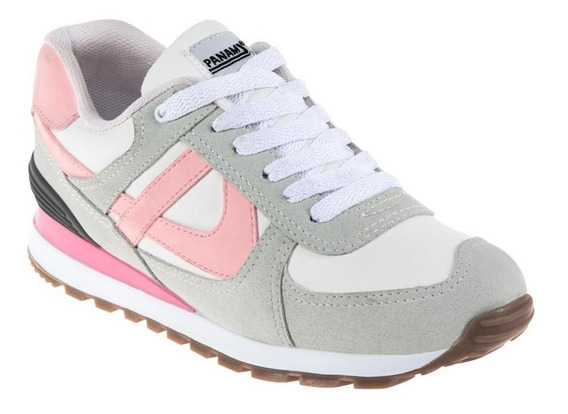 Tenis Dama Casual Panam 0376 Color Blanco/gris