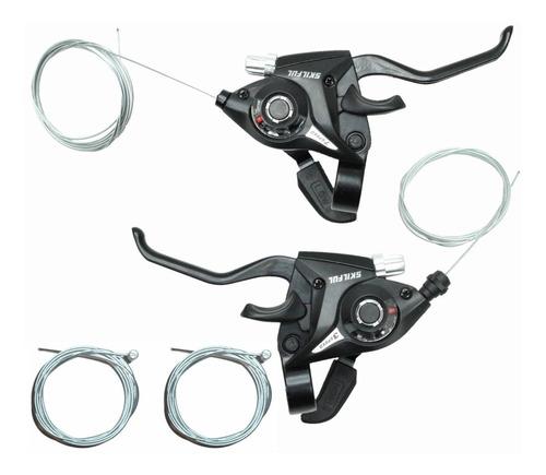 Imagen 1 de 8 de Palancas Duales De Freno Y Cambio 3x7 Aluminio Lxc-40.