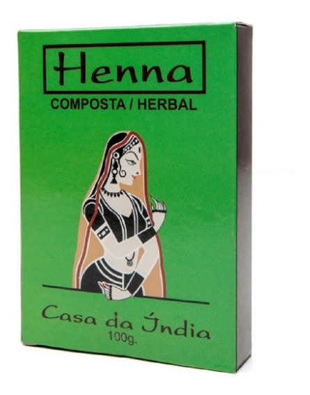 1 Henna Casa Da Índia Caixinha Verde + Grátis Luvas