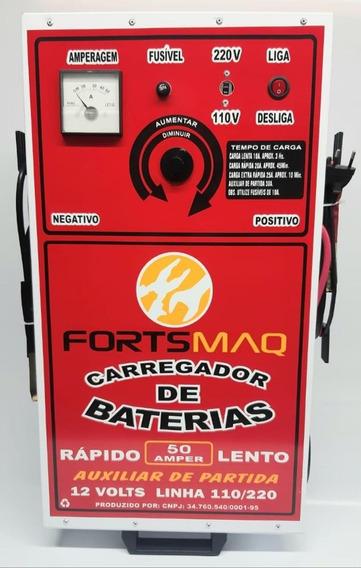 Carregador De Bateria Automotivo 50a 12v + Auxiliar Fortsmaq