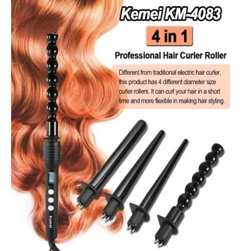 Rizadora P/cabello Kemei Km-4083 4 En 1, Varillas Removibles