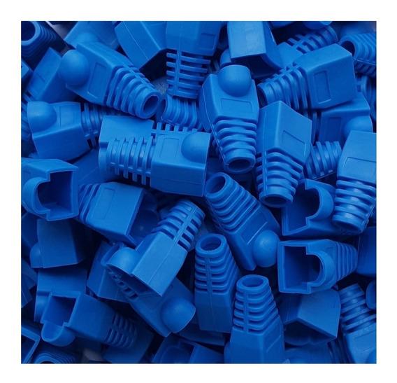 Capa Protetora Borracha Conector Rj45 Azul Cat5e Cat6 C/ 500