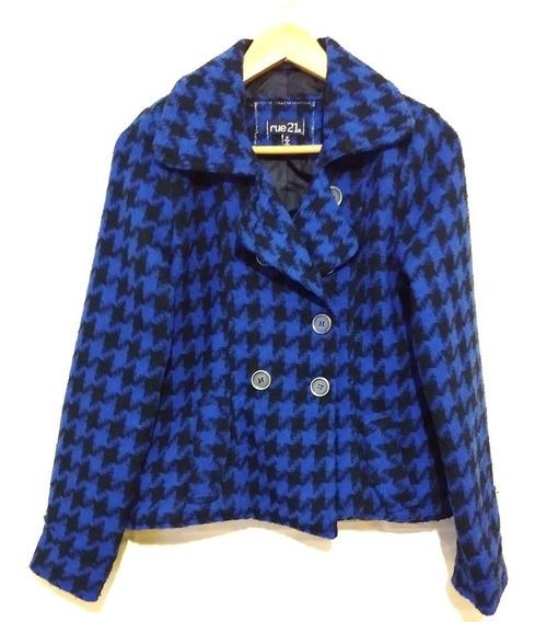 Abrigo Rue 21 Pata De Gallo Negro Y Azul Japon Garciamarie