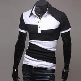 Camisa Masculina Polo Preto Com Branca Luxo Manga Curta