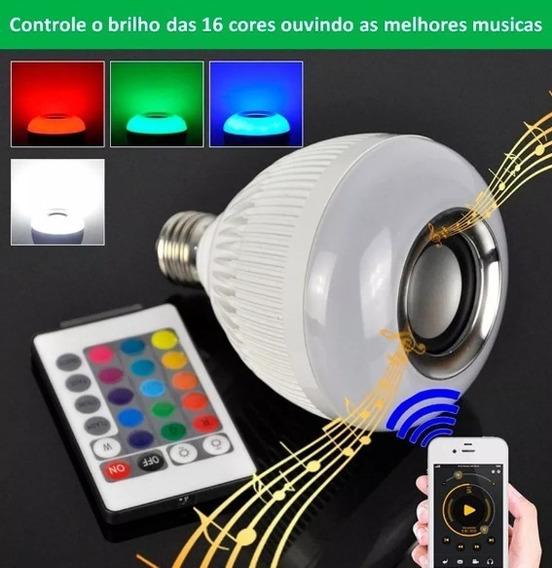 Lampada Bluetooth Led Rgb Toca Música Caixa Som