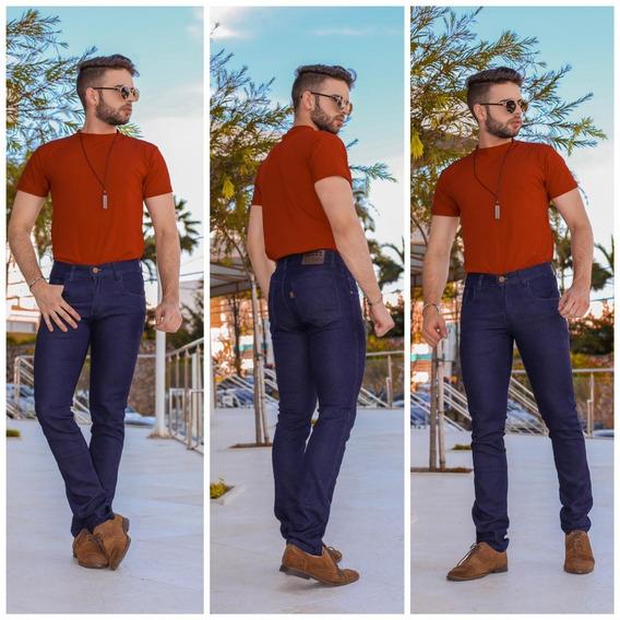 Calça Jeans Masculina Skinny Slim C/ Lycra Azul Escuro Promoção
