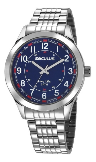 Relógio Masculino Seculus Prata 23644g0svna2 Visor Azul
